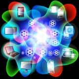 Het Netwerk van de Gegevensverwerking van de wolk Stock Afbeeldingen