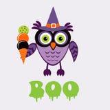 Een illustratie van leuke Halloween-uil Stock Fotografie