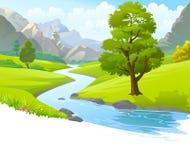 Een illustratie van een rivier die door bergen, heuvels en door toneel groene gebieden vloeien vector illustratie