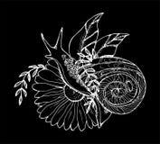 Een illustratie van een slak die door een bloem kruipen Zwart-witte tekening Krijt op een bord vector illustratie