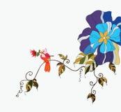 Vogel en bloem Stock Foto's