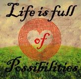 Een inspirational citaat door onbekende auteur op grasrijke landschapswi royalty-vrije stock foto
