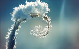 Een installatie met een spiraal met ijs en sneeuw op een blauwe de winterachtergrond die wordt behandeld stock afbeeldingen