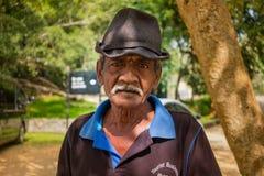 een inwoner van Sri Lanka met een snor en een hoed, een studie van inheemse geschiedenis en cultuur 26 JANUARI 2018 Stock Foto