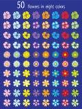 Een inzameling van 50 bloemen voor het ontwerp Stock Fotografie