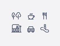 Een inzameling van abstract wayfinding pictogrammen vlak ontwerp vector illustratie