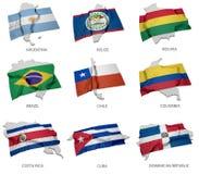 Een inzameling van de vlaggen die de overeenkomstige vormen van sommige Zuidamerikaanse staten behandelen Stock Fotografie