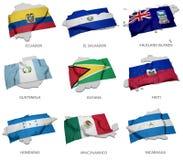 Een inzameling van de vlaggen die de overeenkomstige vormen van sommige Zuidamerikaanse staten behandelen Stock Afbeeldingen