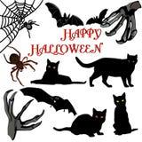 Een inzameling van Halloween-pictogrammen - vectorillustratie Royalty-vrije Stock Afbeeldingen