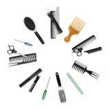 Een inzameling van hulpmiddelen voor professionele herenkapper stock afbeelding