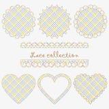 Een inzameling van kanten servettenronde en hart-vormig vector illustratie