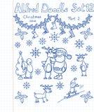 Een inzameling van Kerstmis van krabbels Royalty-vrije Stock Foto's