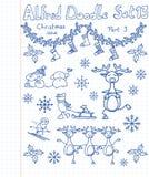 Een inzameling van Kerstmis van krabbels Stock Foto's
