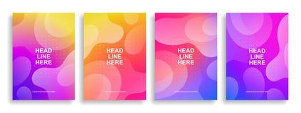 Een inzameling van kleurrijke dekking Golvende vormen met gradiënt royalty-vrije illustratie