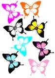Een inzameling van kleurrijke vlinders royalty-vrije stock foto's