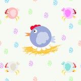 Een inzameling van pretkippen en kippenmamma's op de nest Multicolored eieren Koel vectorpatroon Stock Foto's