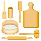 Een inzameling van punten van keukengerei Een houten mortier en een stamper, een raad, een hamer voor vlees, een spatel, een deeg vector illustratie