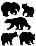 Een inzameling van silhouetten van beren Stock Afbeeldingen