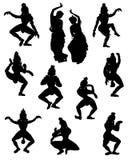 Een inzameling van silhouetten van mensen in Indische dans stelt Stock Foto