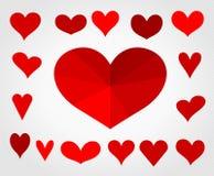 Een inzameling van vector de illustratiereeks van liefdeharten Stock Afbeelding
