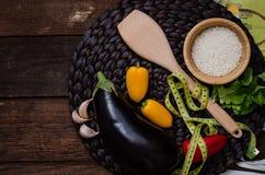 Een inzameling van vegetariër (plaat met groenten) Stock Afbeelding