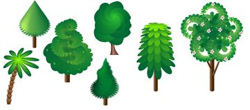 Een inzameling van zeven bomen Stock Fotografie