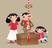 Een Japanse familie bidt en maakt verering bij Japanse tempel vector illustratie