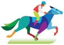 Een jockey op een paard neemt aan horseraces deel Stock Foto