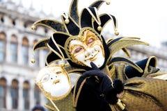 Een joker in Venetië Carnaval Stock Foto