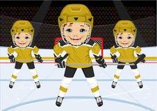 Een jong hockeyteam in eenvormig Royalty-vrije Stock Foto's