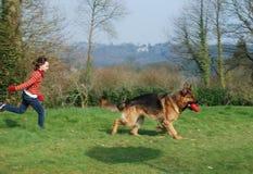 Een jong meisje dat haar hond petting Royalty-vrije Stock Foto's