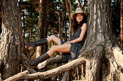 Een jong meisje in de stijl van het land. Stock Foto
