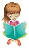 Een jong meisje die een boek ernstig lezen stock illustratie