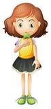 Een jong meisje die een roomijs eten vector illustratie
