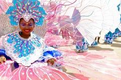 Een jong meisje draagt een kostuum afschilderend de Buccoo-Ertsader in Tobago als deel van het nationale onderwatercultuurbezit