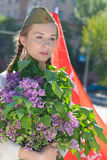 Een jong meisje in een tweede wereldoorlog royalty-vrije stock afbeeldingen