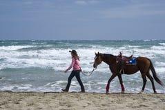Een jong meisje en een paard op het strand Stock Foto's
