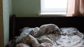 Een jong meisje ligt in bed en wekt omhoog vroeg omhoog het nippen van haar handen in de ochtend stock footage