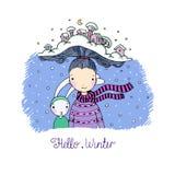 Een jong mooi meisje met interessante hoed en haar vriendenhazen Het Dorp van de winter vector illustratie