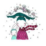 Een jong mooi meisje met interessante hoed en haar vriendenhazen Het Dorp van de winter stock illustratie