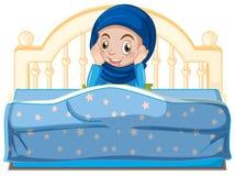 Een jong moslimmeisje in bed stock illustratie