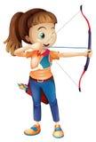 Een jong vrouwen speelboogschieten stock illustratie