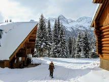 Een jong wijfje die snowshoer binnen lopen - tussen twee houten cabines tijdens de winter in de verre sneeuw behandelde bossen va royalty-vrije stock afbeeldingen