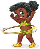 Een jong zwart meisje dat met hulahoop speelt vector illustratie