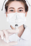 Een jonge aantrekkelijke Aziatische verpleegster Stock Foto's