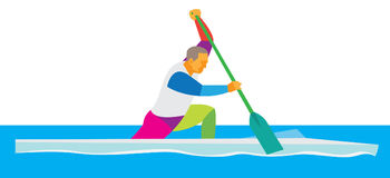 Een jonge atleet die op kano roeien Stock Afbeeldingen
