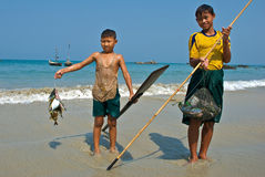 Een jonge Birmaanse visser Royalty-vrije Stock Afbeeldingen