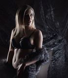 Een jonge blonde vrouw in donkere lingerie en bont Royalty-vrije Stock Afbeelding