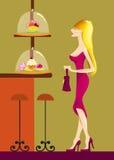 Een jonge dame in de cafetaria royalty-vrije illustratie