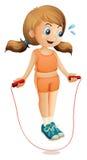 Een jonge dame die met een kabel uitoefenen royalty-vrije illustratie